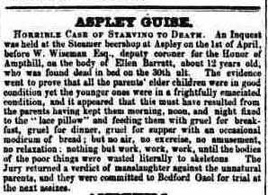 Inquest at Aspley Guise. Report in the Bedford Mercury for Saturday 5 April, 1856. Image © THE BRITISH LIBRARY BOARD. ALL RIGHTS RESERVED.