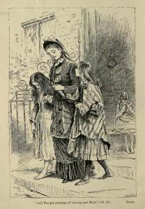 """Lady Temple carrying off Lovedy and Mary"". Adrian Stokes' illustration from the 1880 edition of The Clever Woman of the Family depicts the moment when Rachel's cousin intervenes to rescue two girls from ""the Moloch of lace""."
