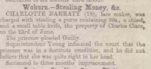 1860, Bedfordshire Times and Independent, Charlotte Barratt of Woburn convicted of theft detail