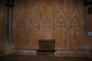 Remains of the shrine to 'Little Saint Hugh' at Lincoln Cathedral (from Wikipedia Commons).