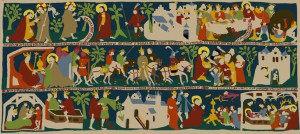 The story of Saint Thomas and King Gondophares in a tapestry made by the Saint Thomas Guild of Nijmegen, a Dutch medieval re-enactment society. See: http://thomasguild.blogspot.co.uk/2013/06/thomas-tapestry-project-choosing.html
