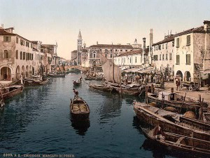 A view through Chioggia. The fish market (mentioned in Goldoni's play) is on the right.