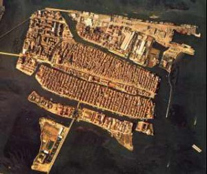 Chioggia from the air. According to the play, 40,000 people lived on the island, and as this picture demonstrates, living quarters were cramped!